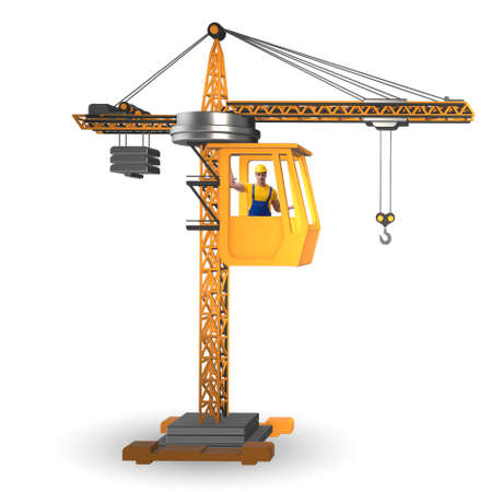 Construction crane operated by the operator Stock Photo