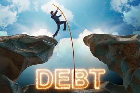 Homme d'affaires en dette et concept de prêt Banque d'images