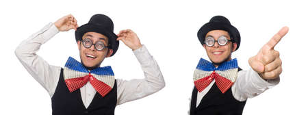 Funny man wearing giant bow tie Stock Photo
