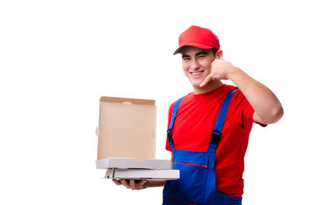 Pizza delivery worker isolated on white Foto de archivo