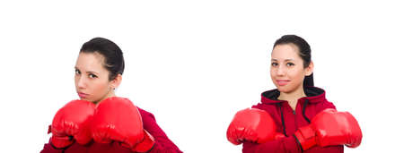 Woman boxer isolated on the white Stock Photo