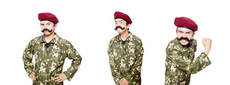 Funny soldier in military concept Banque d'images