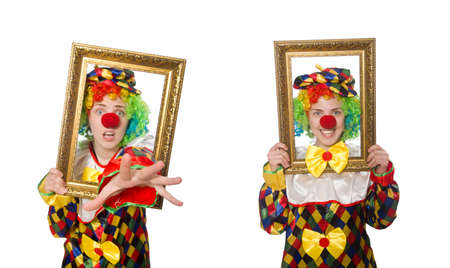 Funny clown girl with frame isolated on white