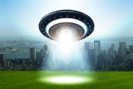 Illustration of flying saucer emitting light - 3d rendering Stock Photo