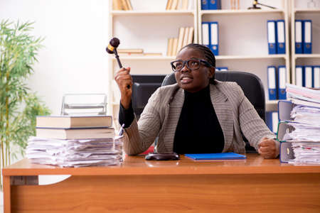 Black female lawyer in courthouse