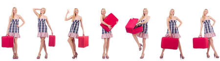 Beautiful woman with suitcase isolated on white Imagens