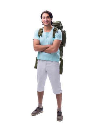 Young handsome tourist isolated on white background