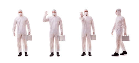 Criminologist in protective suit with steel case Banque d'images - 119870486