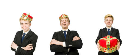 Businessman with crown isolated on white background Stockfoto