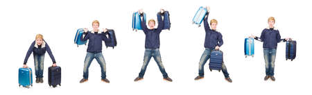 Funny man with luggage on white background