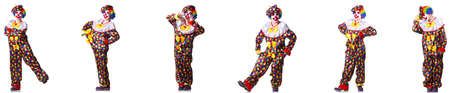 Funny male clown isolated on white