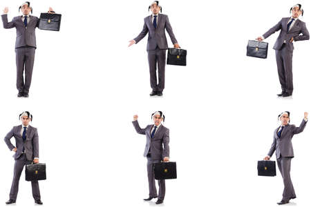 Funny clown businessman with briefcase Stockfoto
