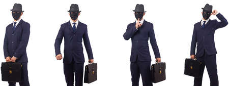 Man with mask and briefcase isolated on white background