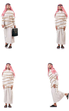 Arab man tied up with rope