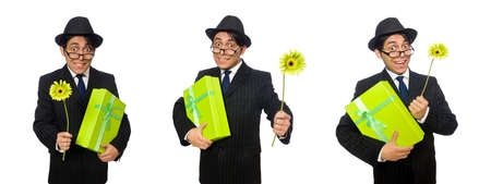 Funny man with flowers and box