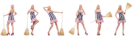 Beautiful woman in housecleaning concept