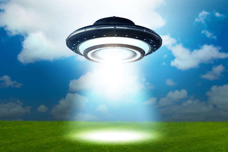 Illustration of flying saucer emitting light - 3d rendering Фото со стока