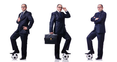 Funny man with football isolated on white Standard-Bild