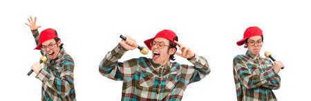 Funny guy singing isolated on white Banco de Imagens