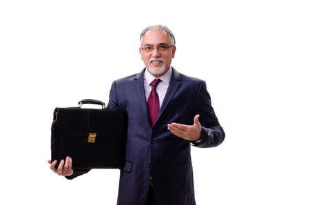 Employé d'homme d'affaires âgé isolé sur blanc Banque d'images