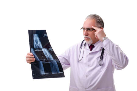 Old male doctor isolated on white Reklamní fotografie