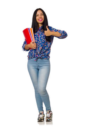 Femme latine avec des notes isolées sur blanc Banque d'images