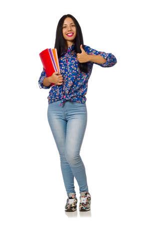 Lateinische Frau mit Notizen isoliert auf weiß Standard-Bild