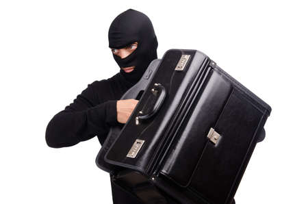 Male thief with suitcase isolated on white