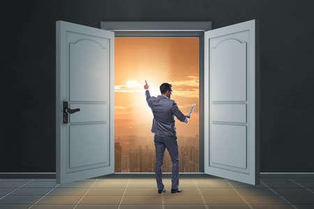 Businessman entering big large door