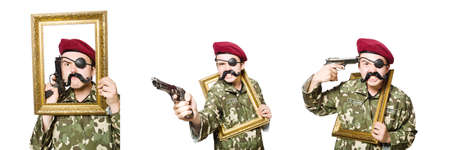 Funny soldier in military concept