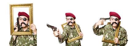 Lustiger Soldat im militärischen Konzept