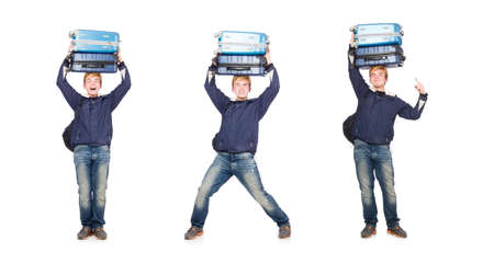 Funny man with luggage on white Stock Photo
