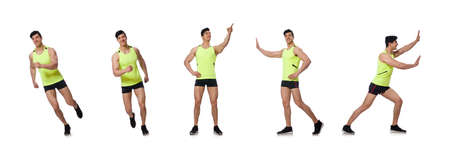 Young muscular man doing exercises Stockfoto