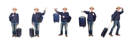 Funny man with luggage wearing safari hat