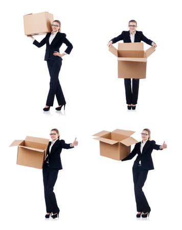 Woman businesswoman with boxes on white Imagens