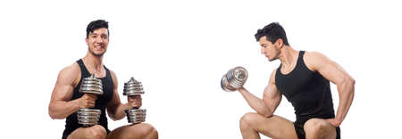 Man with dumbbells isolated on white Stock Photo
