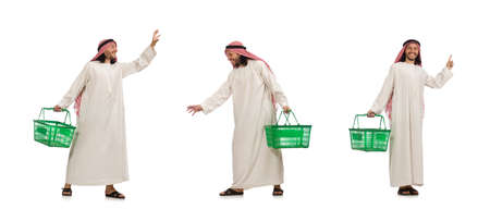Arab man doing shopping isolated on white 免版税图像