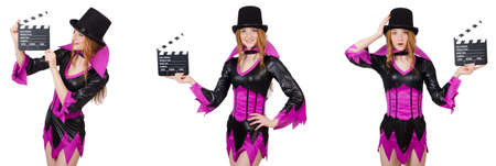 Beautiful woman with clapper board Imagens