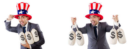 Man with american hat with moneybags