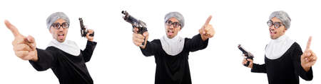 Man in nun dress with handgun