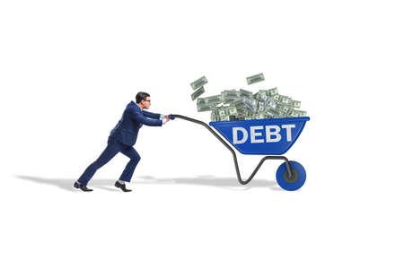 Businessman pushing wheelbarrow in debt loan concept 스톡 콘텐츠
