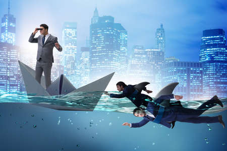 Businessmen in competition concept with shark Stock fotó