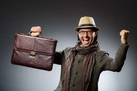Man wearing vintage hat in funny concept Stock Photo