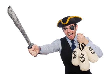 Pirate homme d'affaires isolé sur fond blanc