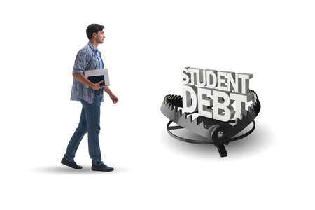 Young student in loan and debt concept