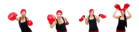 Woman boxer isolated on the white Banco de Imagens