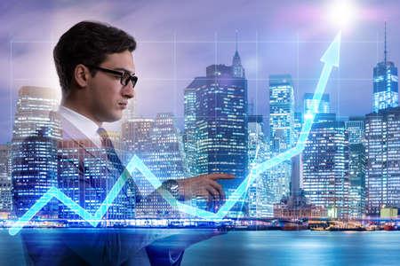 Businessman in stock trading concept 免版税图像