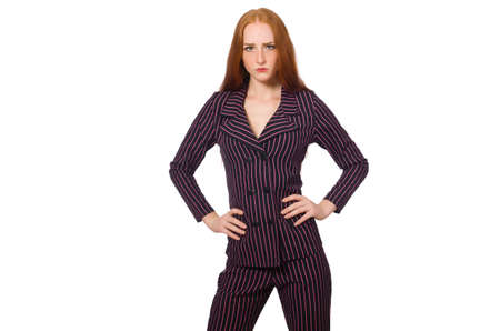 Businesswoman in purple costume isolated on white