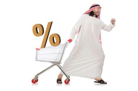 Arab man doing shopping isolated on white Imagens