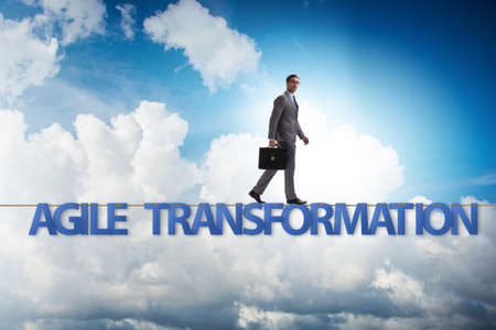 Agile transformation concept with businessman walking on tight r